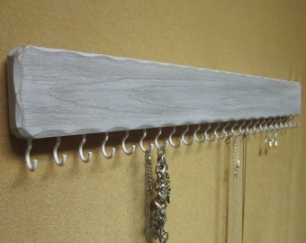 Necklace Holder / Organizer - 24 White Hooks - Distressed White Painted Finish - 2 Hangers are Installed