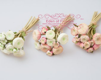 Ranunculus Bridal Bouquet White, Pink, and Mixed Color Ranunculus Flower Bouquet, real touch