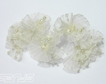 Fleur hair accessories with organza flowers and beads