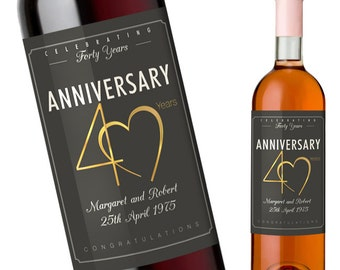 40th Wedding Anniversary Gift - Custom Anniversary Wine Label for a 40th Anniversary - Personalise with Couples Names and Wedding Date