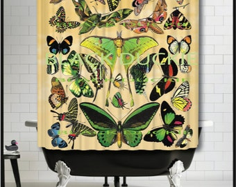 French Butterflies Shower Curtain - collage lunar moth butterfly insect butterflies shower curtain