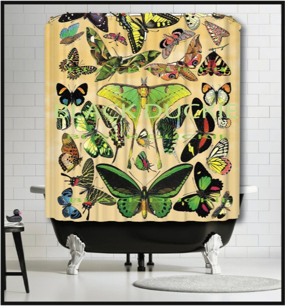 Curtains Ideas butterfly shower curtain : French Butterflies Shower Curtain collage lunar moth