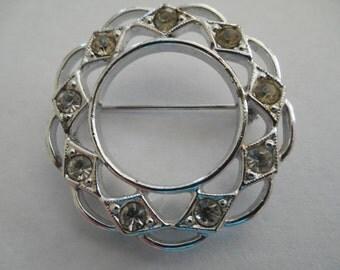 Sarah Coventry Silver Tone Rhinestone Round Pin Brooch