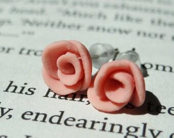 Polymer Clay Handmade Rose Stud Earrings; Pastel Light Pink Rose Earrings