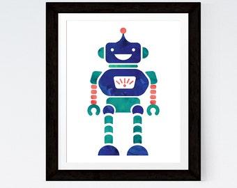 Robot Print Nursery Art Baby Nursery Decor Nursery Print Kids Art Boys Room Nursery Boy Art Nursery Wall Art
