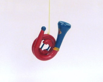 Vintage Christmas ornament horn blue red gold 1970s
