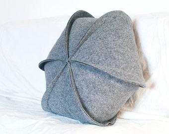"""Felt Pillow / Geometric / Modern  Pillow / Hexagon / Grey pillow / Throw Pillow / 18"""" x 18"""" / Decorative Pillow"""