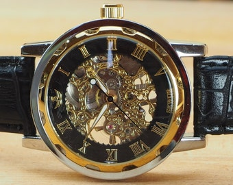 Custom Glass Engraved Black Gold Skeleton Wrist Watch Black Strap - Metal Gift Boxed / WW-7-G