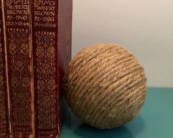 Twine ball, decorative ball, twine wrapped decorative ball, jute twine ball, shelf decor, country chic decor
