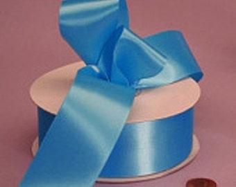 "New Single Faced Aegean Blue Satin Ribbon 7/8"",or 5/8"""
