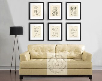 Fathers day gift Fishing Reel Fishing Lure Patent Prints wall Decor set of 6 reproduction prints,  gift for Dad, Gift for him.