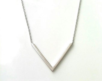 Necklace solid silver triangle - 925/000 silver necklace triangle, pointe - adjustable size - silver 925