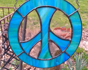 Peace Sign Stained Glass Sun Catcher