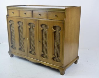 Ca.1960 Mid Century Dry Bar/Liquor Cabinet with Cane Inserts