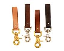 Leather Key Leash, Belt Loop Keychain, Mini Lanyard