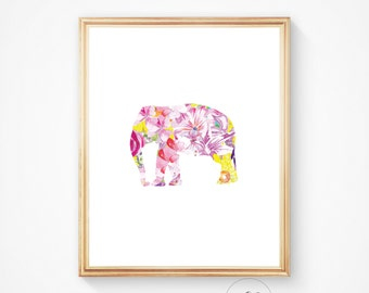 Elephant print, Elephant art, Elephant wall art, Nursery decor, Elephant decor, Printable art, Elephant art print, Watercolor elephant