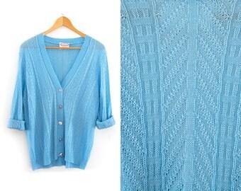 Vintage cardigan jacket. Button up. Modern minimalist. Pale blue cardigan. Womens jacket.