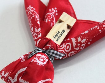 Train party favor (set of 6) includes train whistle and red bandana, wrapped and tied, train birthday favor, train party goodie bag
