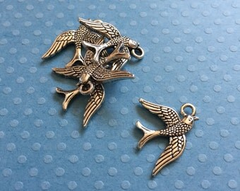 5 Silver Tone Love Swallow Bird Charms
