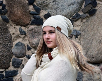 Alpaca slouchy beanie for women natural white knit hat kitted ivory adults winter beanie
