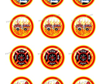 Fire Fighter 2 Inch Round – Digital Download – Cupcake Topper – Stickers - Fire Fighter Party