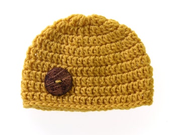mustard hat with wooden button/photoprop