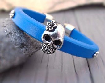 Women bracelet, Bracelet for women, Girl leather bracelet, Licorice  bracelet, Blue leather bracelet, Women leather bracelet, Skull bracelet