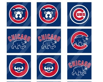 Chicago Cubs digital collage sheet 48.5x11 2 inches square   INSTANT DOWNLOAD