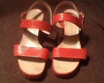 Herbert Levine Red Faux Snakeskin Sandals
