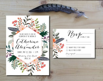 Printable Wedding Invitation Set | Invitation + RSVP  | Flowers, feathers, botanical | Boho rustic wedding invitation | Country floral
