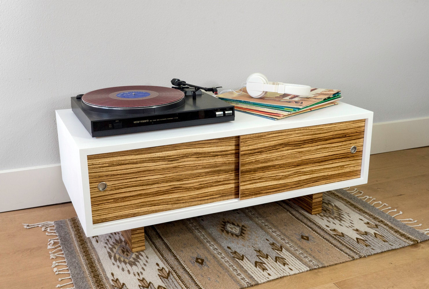 Record Player Stand And Media Console With Sliding Doors And