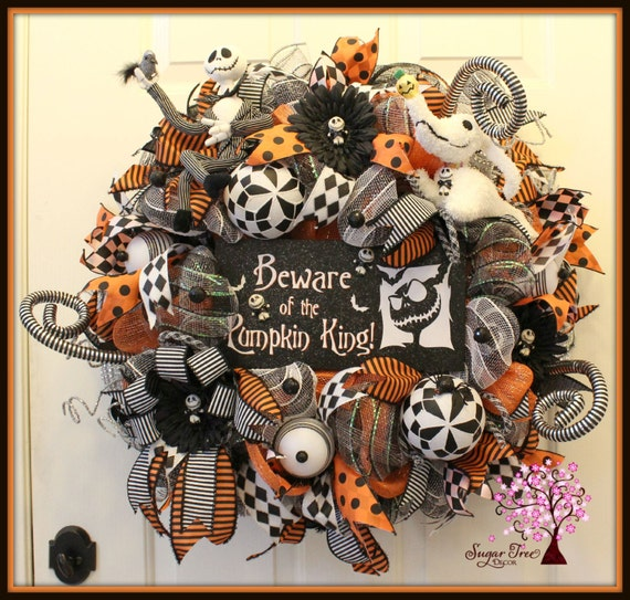 nighmare before christmas wreath halloween wreath jack. Black Bedroom Furniture Sets. Home Design Ideas