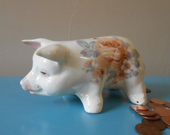 Ceramic Piggy Bank Older 1940's Era Unusual HandPainted with Rose Transfer Pattern - Collectible Vintage Piggy Bank - Unusual Ceramic Piggy