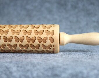 Butterfly Engraved Embossing Rolling Pin, Wood Rolling Pin, Cookie - by Melodywoodart