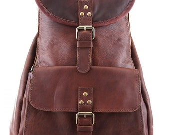 Leather Backpack Rucksack in Vintage Brown by MAHI Leather