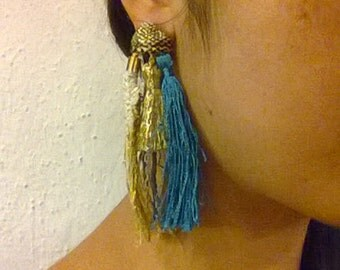 Tassel and hand woven piece earring