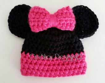 Crochet Minnie Mouse Hat with Ears: Newborn Infant Child Adult Chunky Beanie