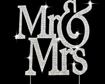 Large Real Rhinestone Silver Mr & Mrs Block Rhinestone Cake Topper Wedding Cake Topper