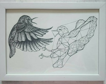 Stippled Bird Fight Geometry Print