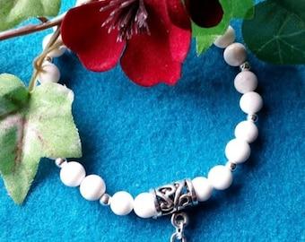 White Howlite Sterling Silver Bracelet
