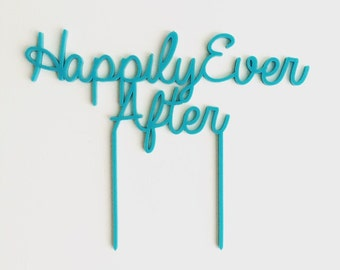 """Happily Ever After Wedding Cake Topper 12"""", Cake Topper, Laser Cut, Acrylic, Personalized, Perfect Wedding, Large Wedding Cake Topper"""