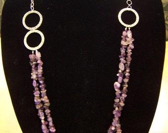 Long, semi precious Amethyst and silver necklace