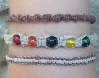 Men's multi color rasta hemp bracelet set