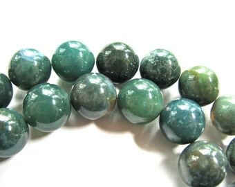 Moss Agate beads, 14 beads, 12mm, shades of green - #192