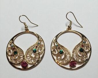 Gold Filled Rhinestone Earrings