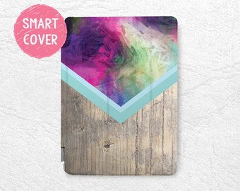 """Abstract colorful wood print Smart Cover for iPad Mini, iPad mini 2 retina, iPad mini 4, iPad Air, iPad Air 2, iPad Pro, New iPad 9.7"""" 2017"""