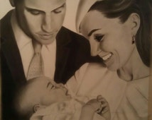 """Original Charcoal drawing, framed, """"The Royal Family"""""""