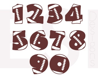 Football numbers SVG, DXF, EPS, cutting files for use in Silhouette studio and Cricut Design Space. Vinyl cut files, monogram files.