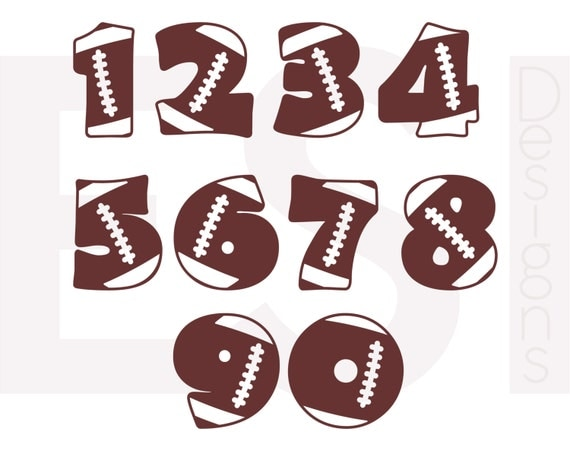 Football Numbers Svg Dxf Eps Cutting Files For Use In