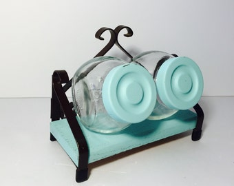 Adorable Metal and Wood Shelf With Two Jars